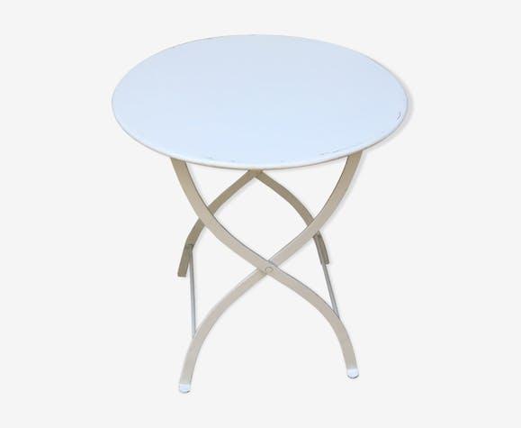 Table basse métal et ses 2 chaises pliantes en métal blanc - métal ...