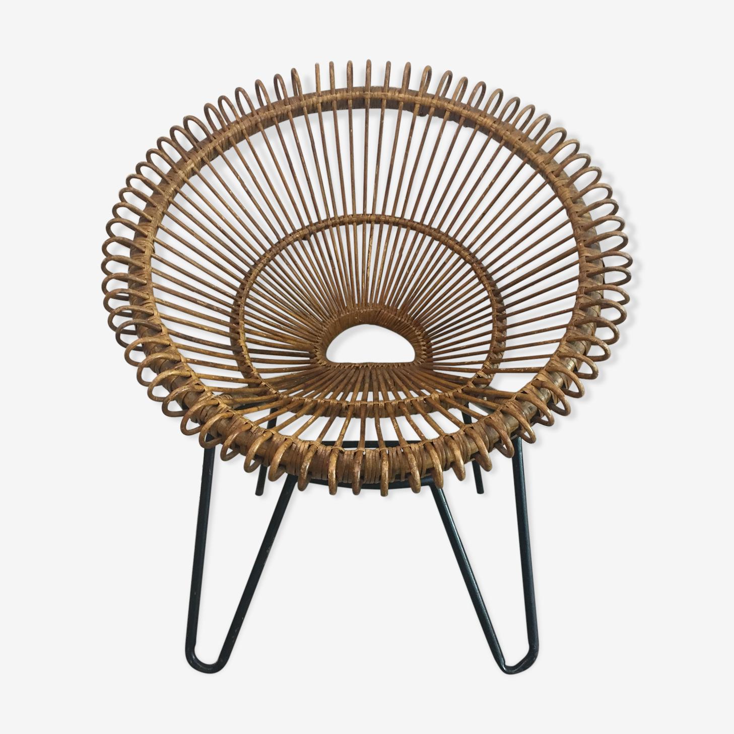 Armchair in rattan foot metal circa 1960
