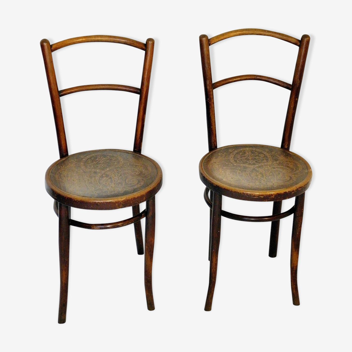 Paire de chaises bistrot Kohn, Autriche  1900.