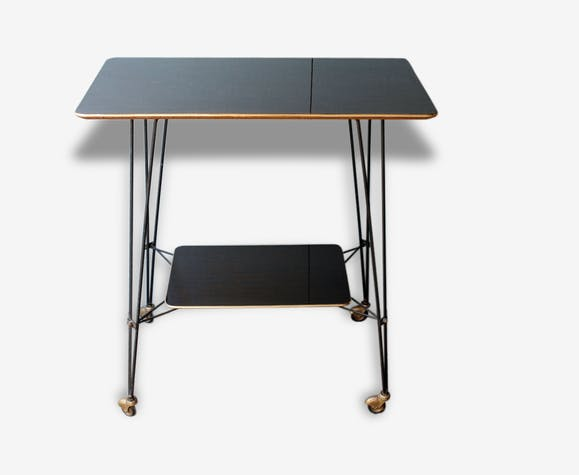 console table tv vintage ann e 60 m tal noir vintage thfgs6i. Black Bedroom Furniture Sets. Home Design Ideas