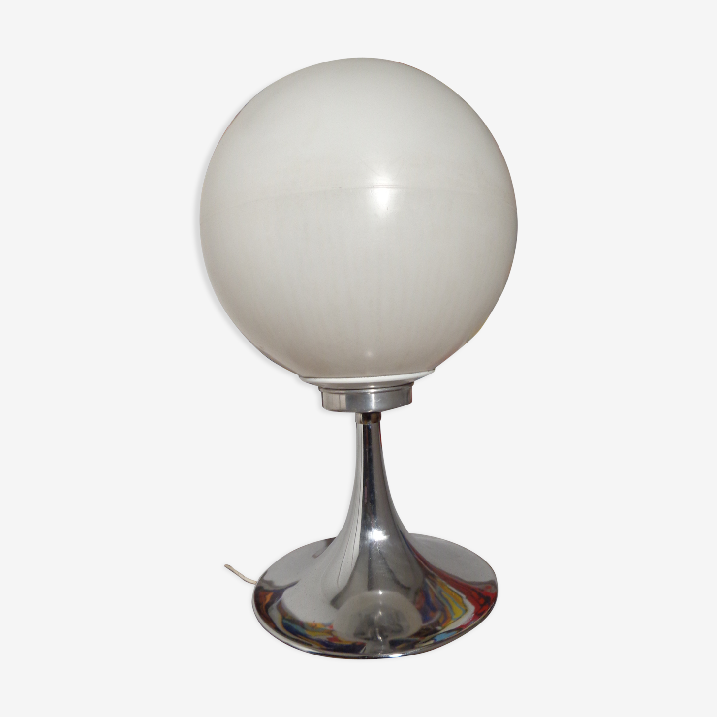 Lamp ball chrome foot tulip of the 1960s