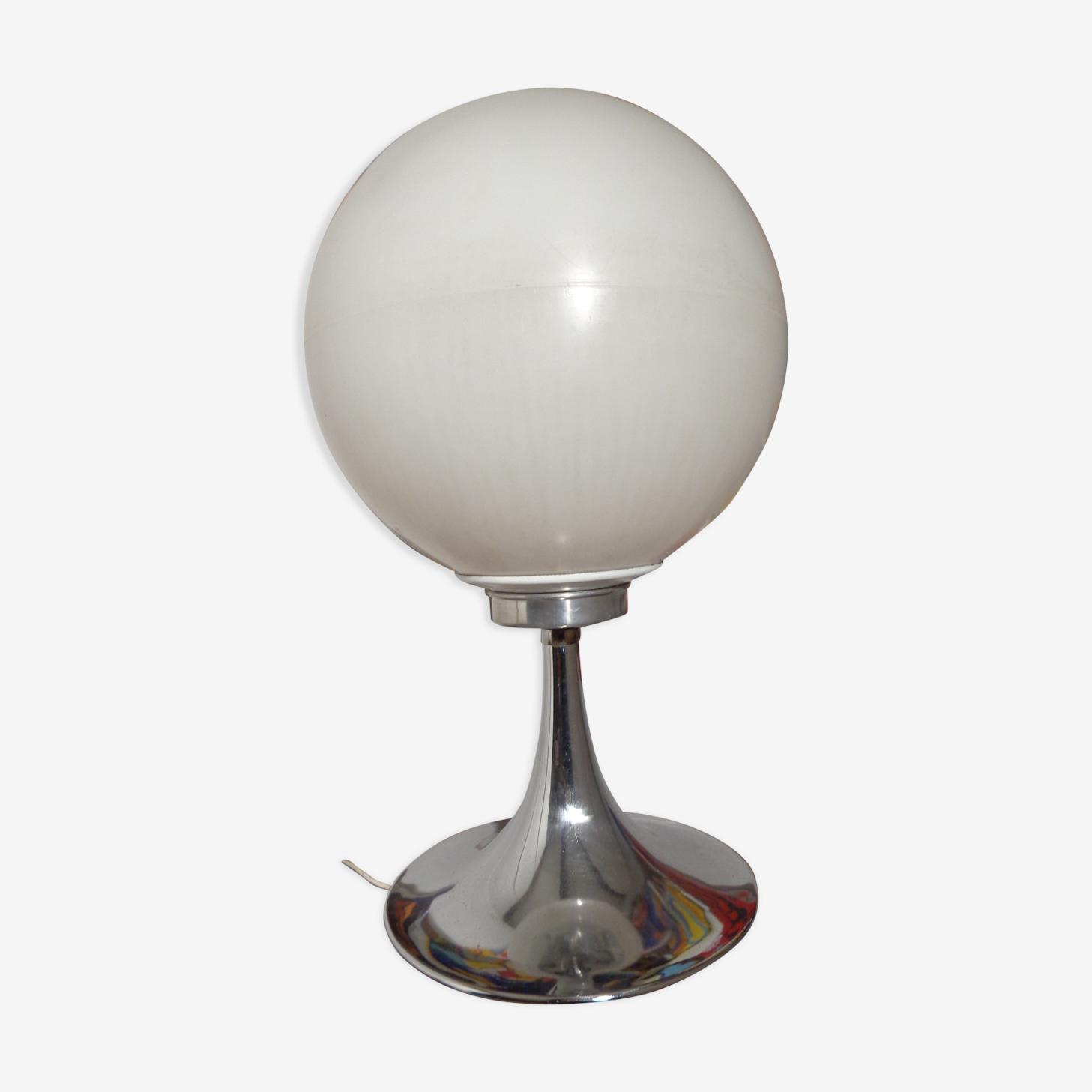 Lampe boule pied chromé tulipe des années 60