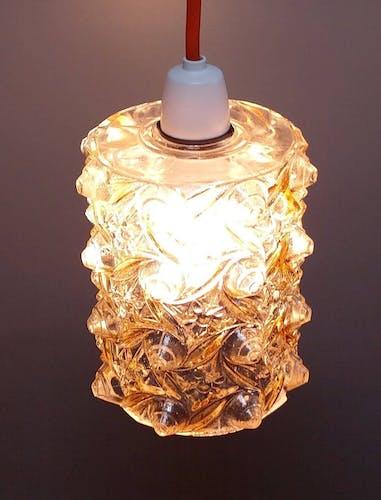 Lumières de pendentif de milieu de siècle - 1960 - Verre pressé tchèque