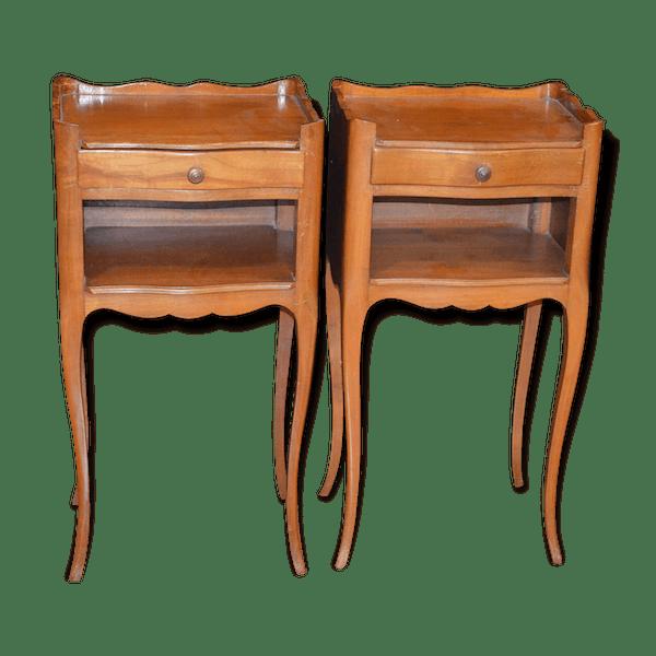 Tables de chevet en merisier bois mat riau marron - Table de chevet classique ...