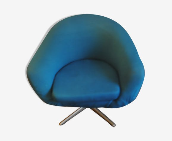 fauteuil design boule bleu turquoise ann es 60 70 tissu. Black Bedroom Furniture Sets. Home Design Ideas