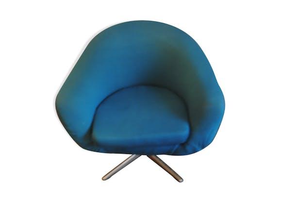 Fauteuil design boule bleu turquoise années 60-70 - tissu - bleu ...