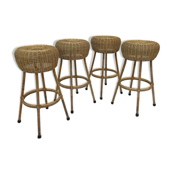 Ensemble de quatre tabourets de bar vintage en rotin 1960 Nederland Design