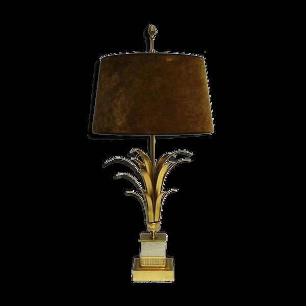 Lampe de bureau feuille d'ananas en laiton 1970s