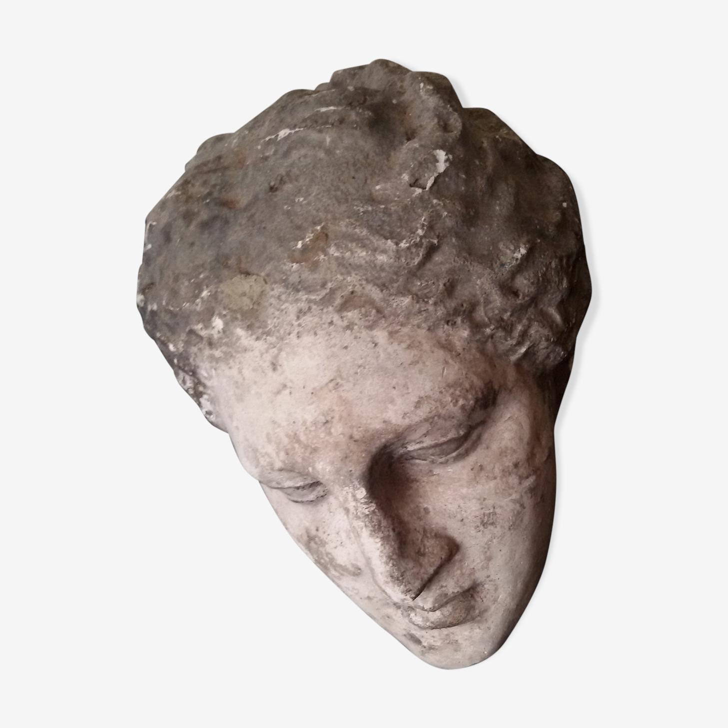 Tête antique imposante en plâtre XIXème