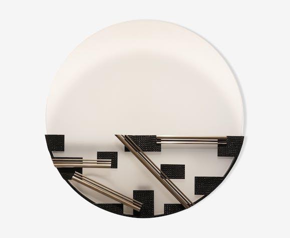 Applique moderniste formes géométriques en métal & verre dépoli