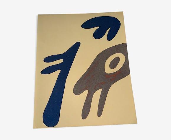 Lithographie, tête, torse et nombril sur table, Jean Arp