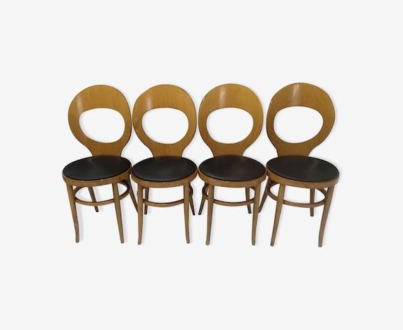 Suite de 4 chaises de bistrot Baumann modèle Mouette 1987