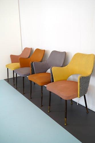 Ensemble de quatre chaises italiennes par Gastone Rinaldi edition Rima