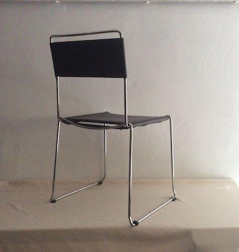 Chaise cuir et chrome