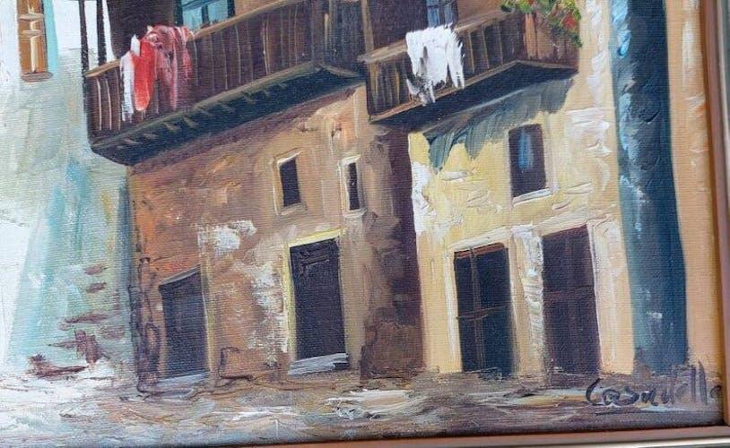 Scène de village espagnole, huile signée sur toile 1960