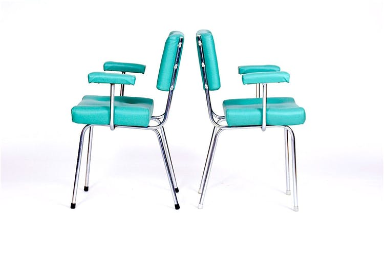 Chrome 1970 vintage lounge chairs s