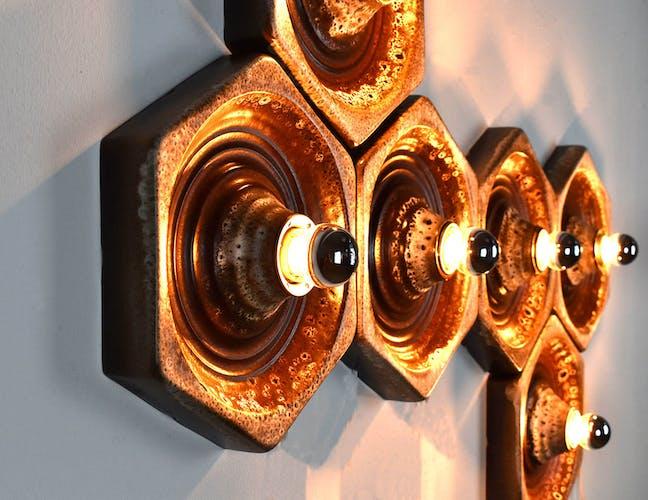 Lot de 6 lampes murales en céramique par Hustadt Leuchten années 1960