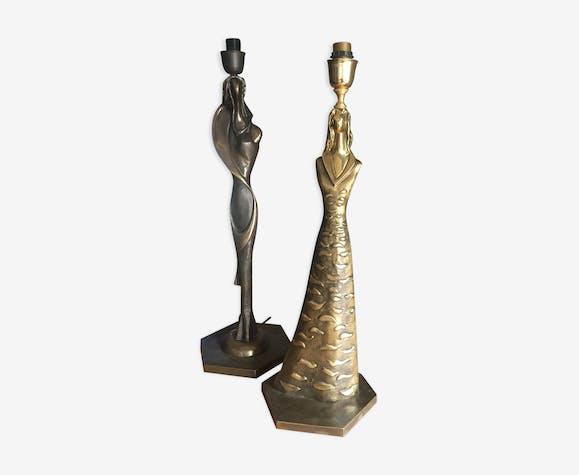 Paire de lampes en bronze sculptures de Giuliano Ottaviani signées 1990