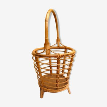 Travailleuse en bambou et rotin, vintage
