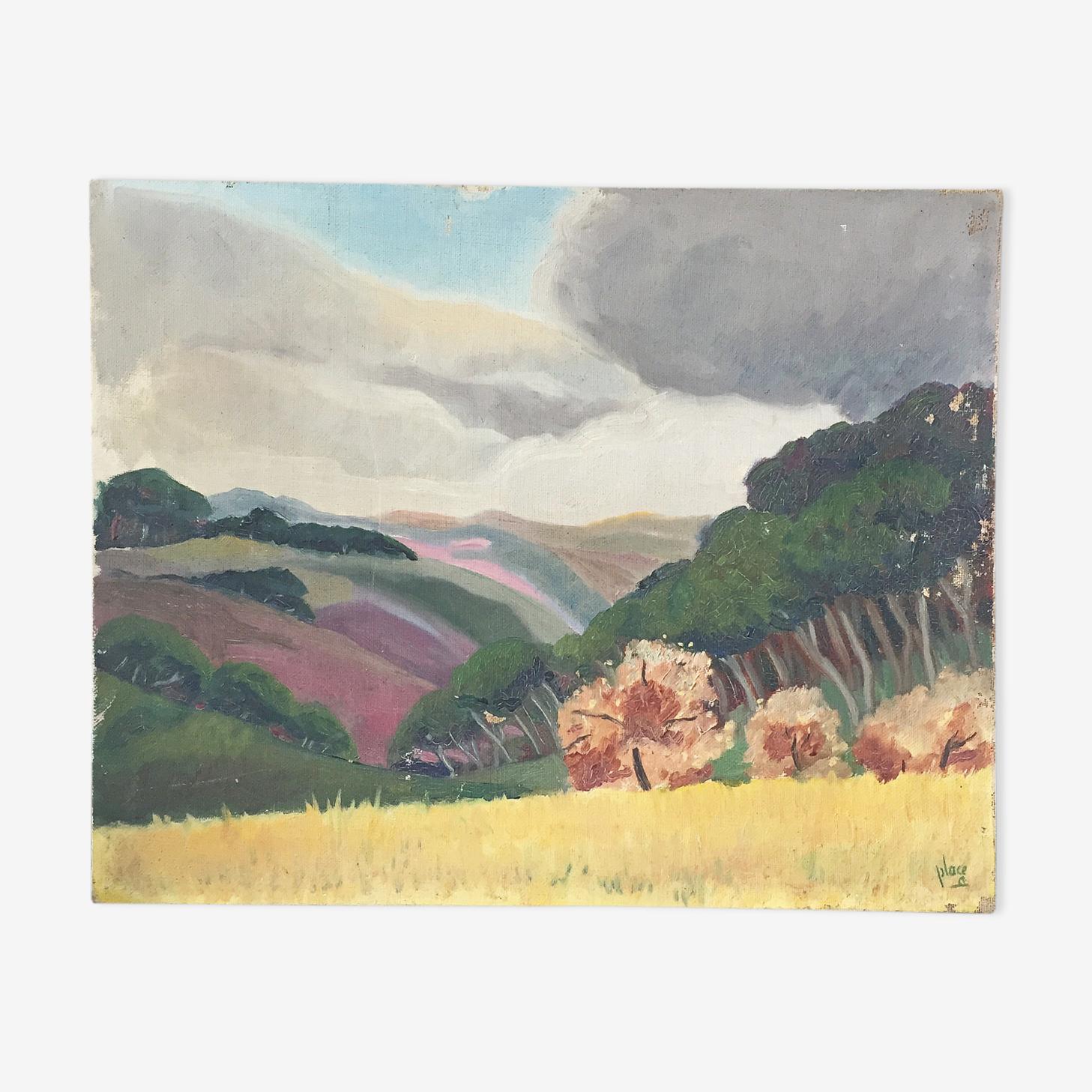Landscape canvas colorful 41 x 33 cm