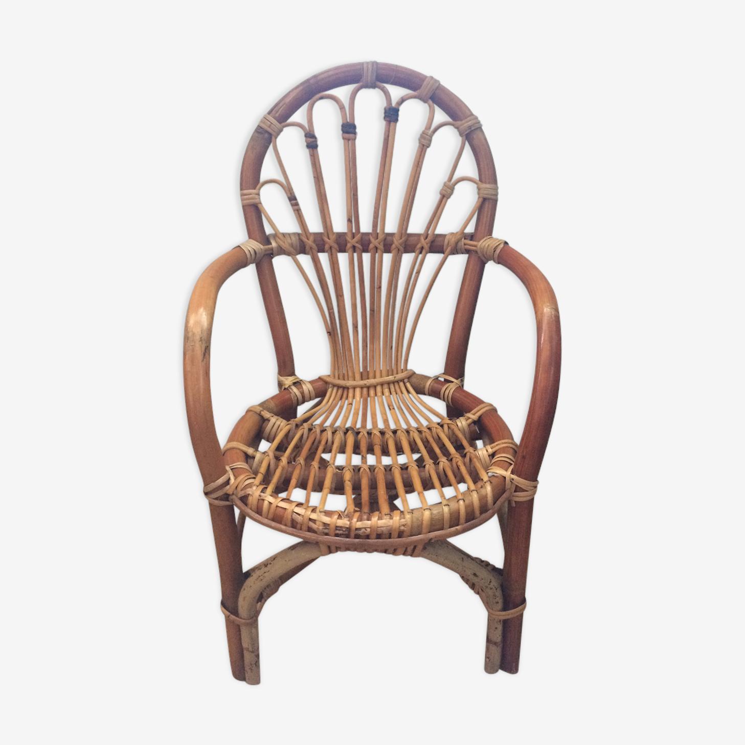 Petit fauteuil en rotin vintage 50's
