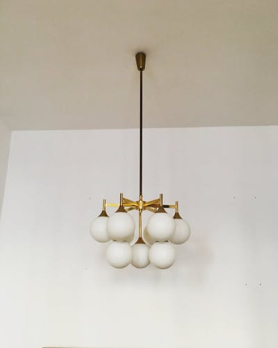 Mid Century brass Sputnik chandelier by Kaiser Leuchten