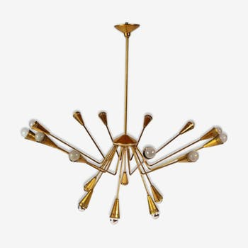 Round luster of eighteen fires by Oscar Torlasco for Lumi Italy 1950 Golden brass
