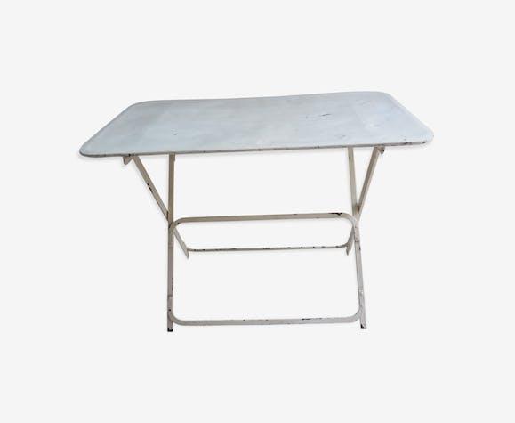Table ancienne de jardin pliable en métal - fer - blanc ...