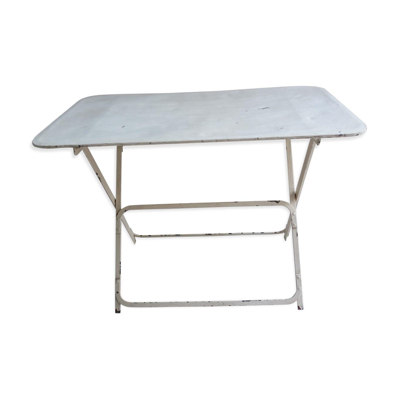 Table ancienne de jardin pliable en métal - fer - blanc - vintage ...