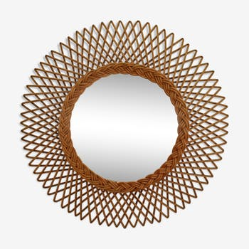 Sun rattan mirror 1950 - 48x48cm
