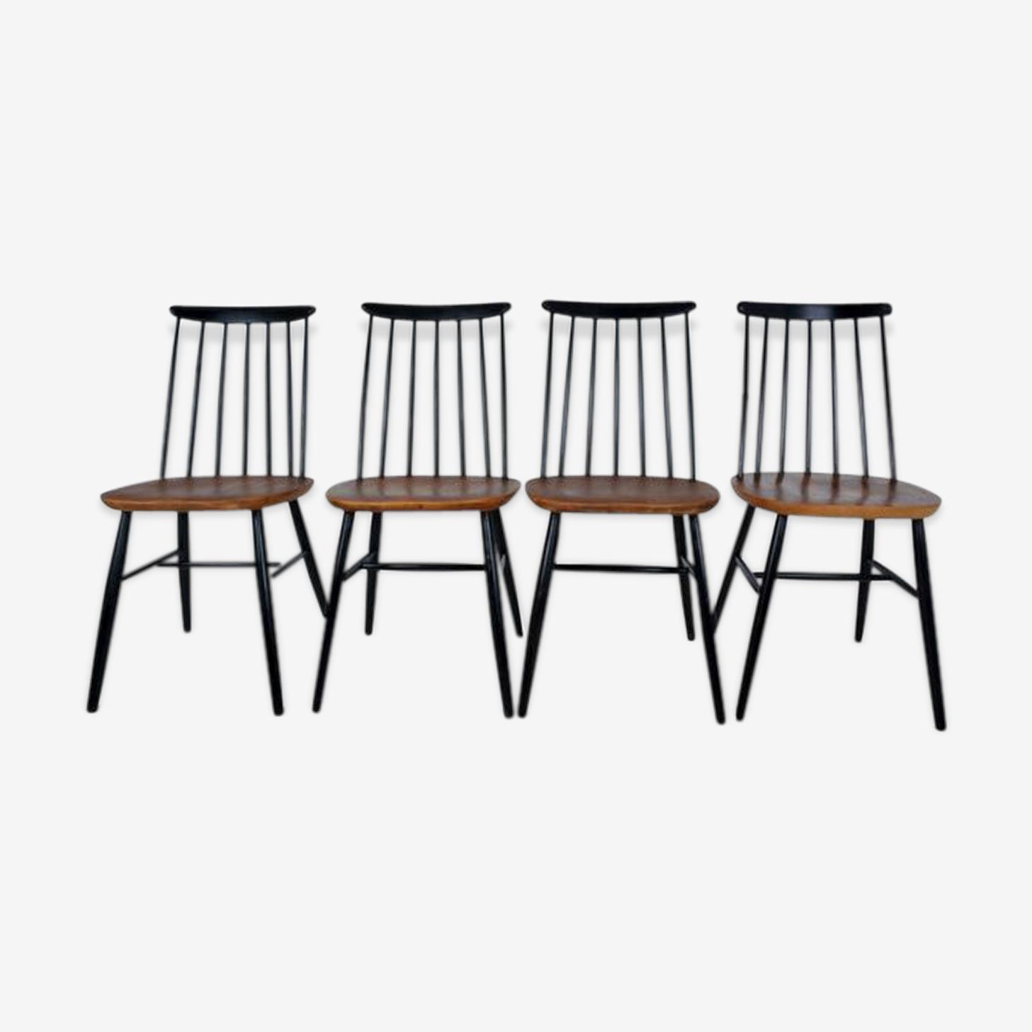 Suite de 4 chaises scandinaves tapiovaara années 60