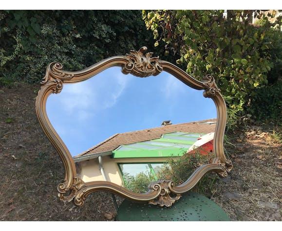 Miroir de style baroque en bois doré 92x70cm