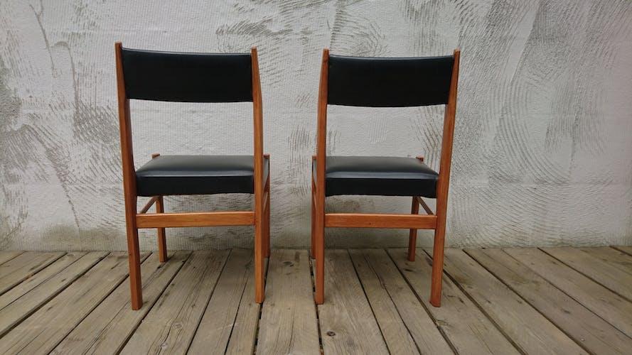 Chaises scandinaves teck et skaï