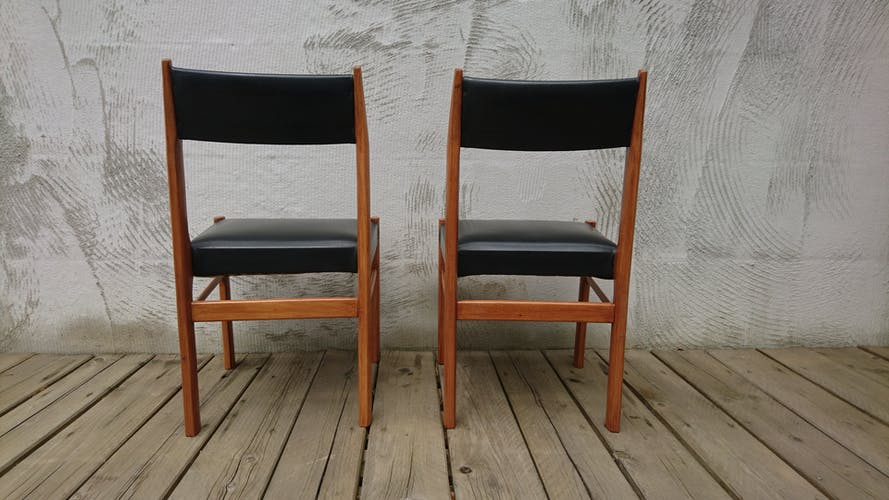 Scandinavian teak and leatherette chairs