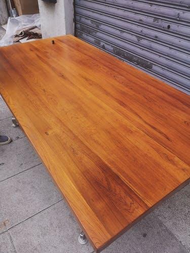 Table bureau avec plateau en bois blond