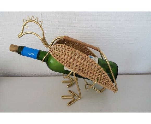 Display bottle holder in brass and rattan bird vintage