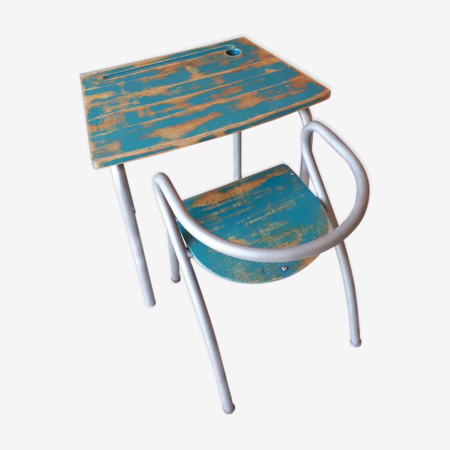 Ensemble bureau et chaise enfant de Jacques Hitier années 50