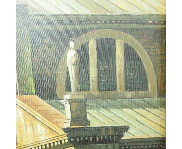 Peinture huile sur toile Pont du Rialto signé Edge