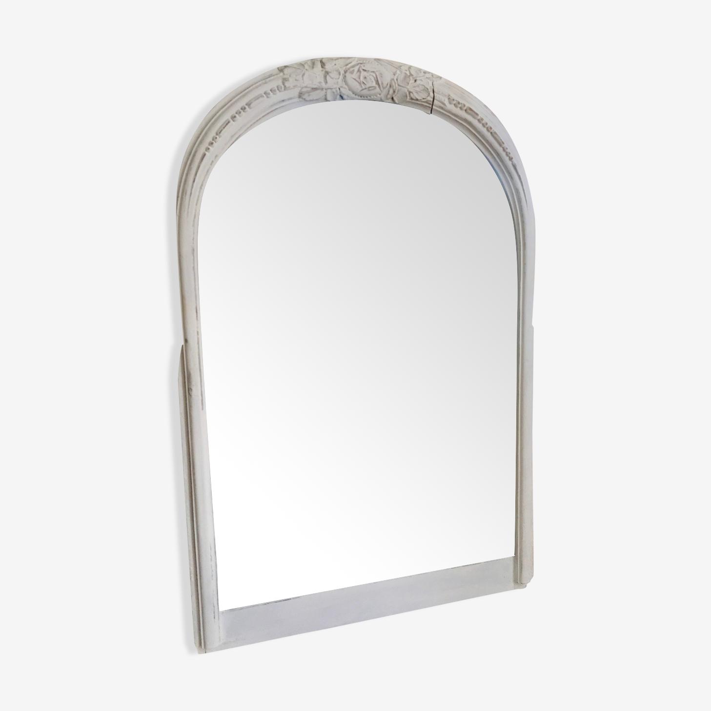 Miroir ancien patine blanc shabby chic 61x81cm