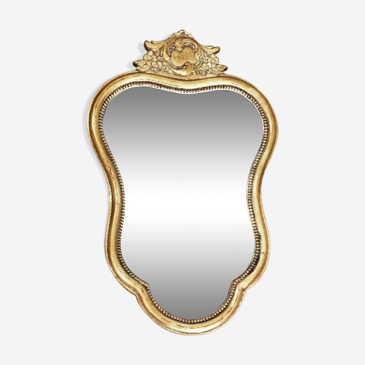 Miroir doré vintage Belgique ancien moulé 60s 53x33cm