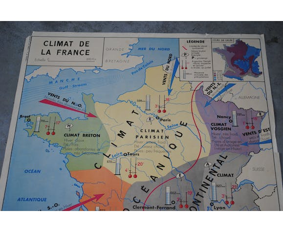 School map Rossignol, Côtes Atlantiques, vintage French climate