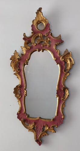 Miroir rococo style Louis XV bois doré 42x88cm