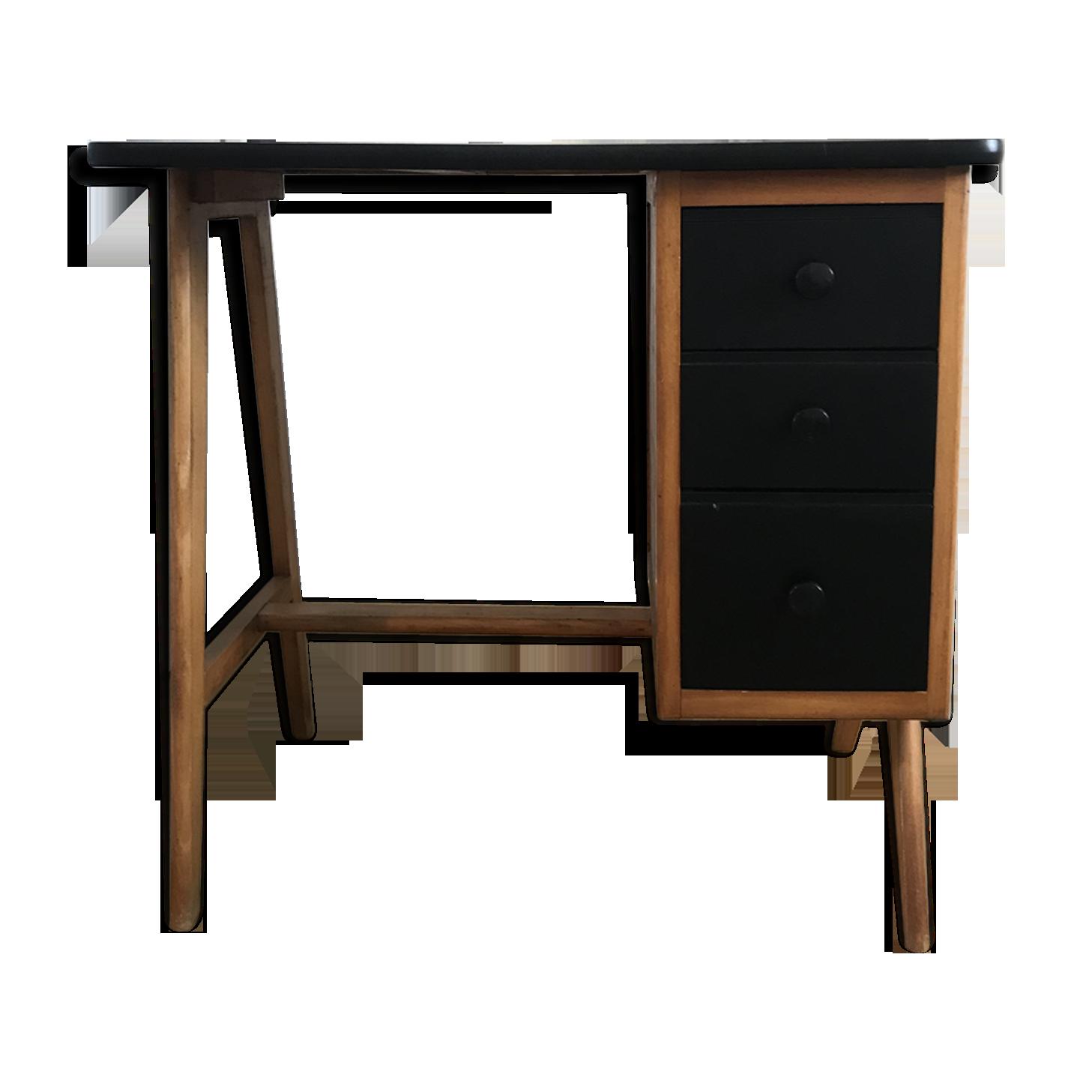 Petit bureau scandinave revisité bois matériau noir