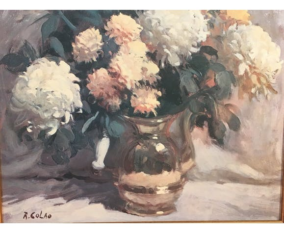Tableau à l'huile sur toile bouquet signé R.Colao