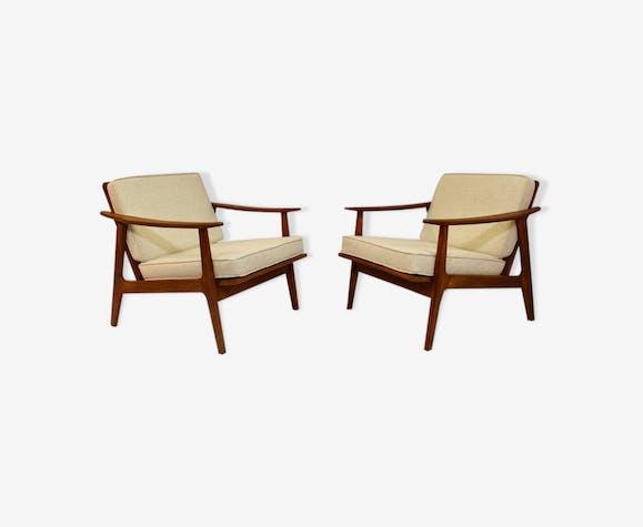 Paire de fauteuils style scandinave années 50/60 tissu beige chiné