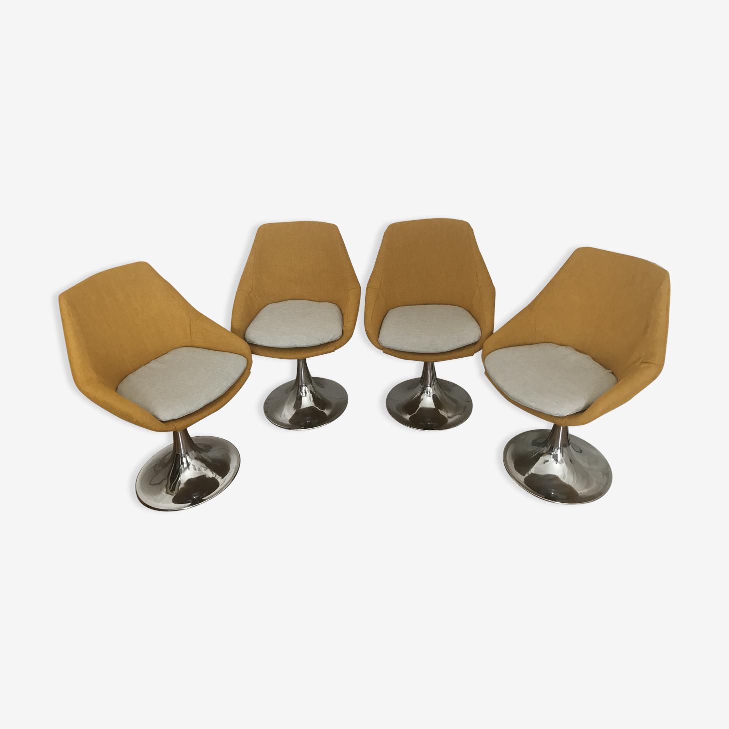 Ensemble de 4 chaises pivotantes aux jolis pieds Tulipe