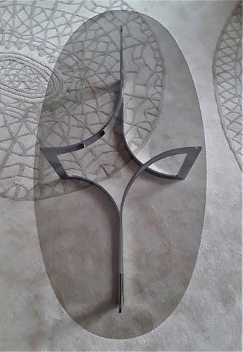 Table basse de Paul Legeard verre fumé et acier chromé