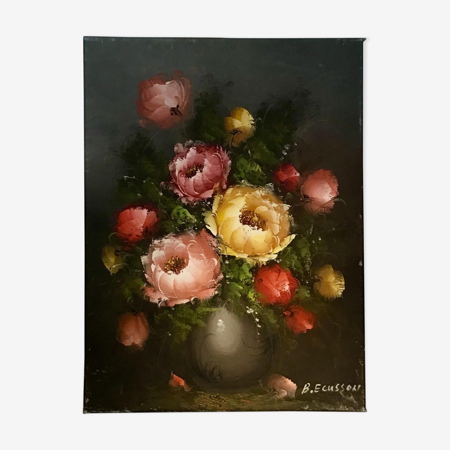 Peinture nature morte aux pivoines