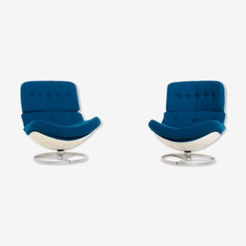 Pair of swivel chairs by Michel Cadestin, Airborne editor, 70s