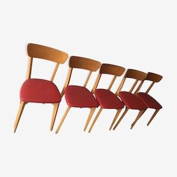 Série de 5 chaises vintages en bois et skaï